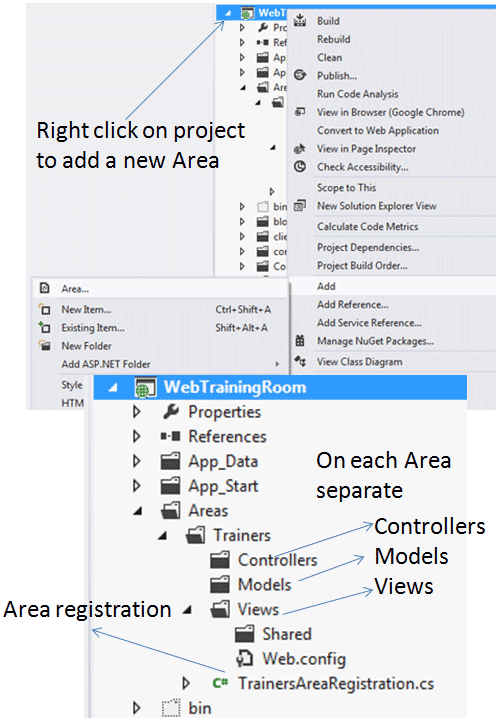 how to create area in asp.net mvc