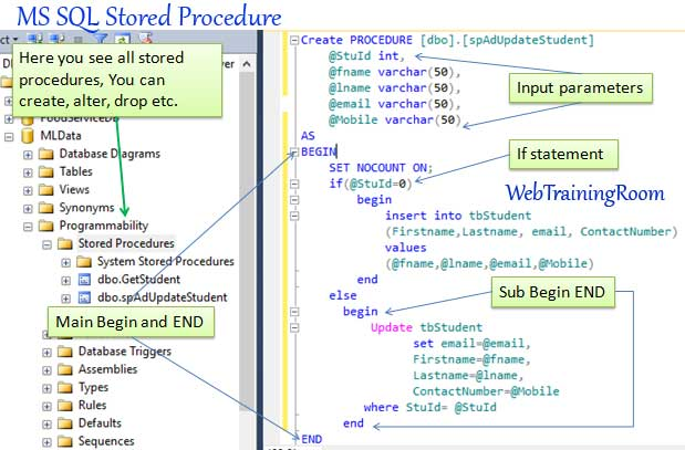 create stored procedure in sql database