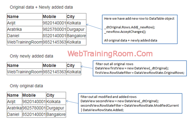 DataView in Ado Net Example, DataView Ado net in C#