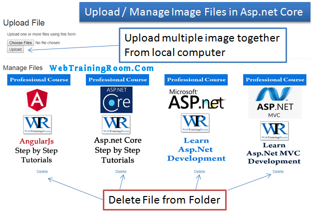 Retrieve and delete static files images in Asp.net Core