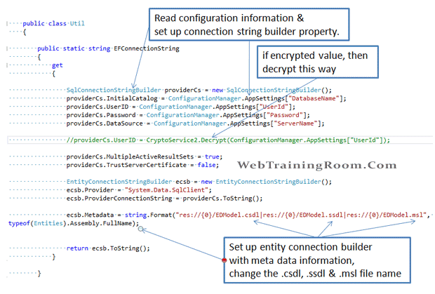 entity framework databse connection setup