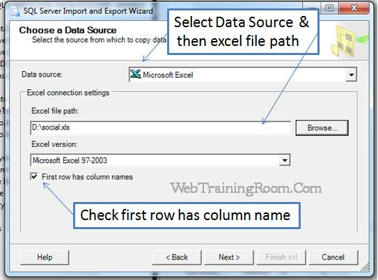 import data from excel to sql