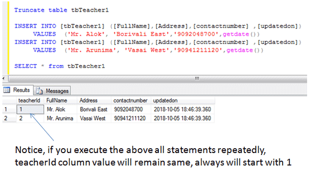 sql truncate statement example
