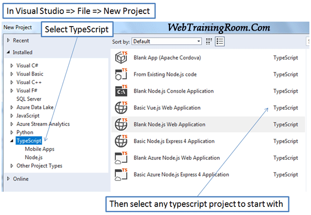 create typescript project with visualstudio